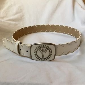 Accessories - Faux leather belt with large peace sign buckle